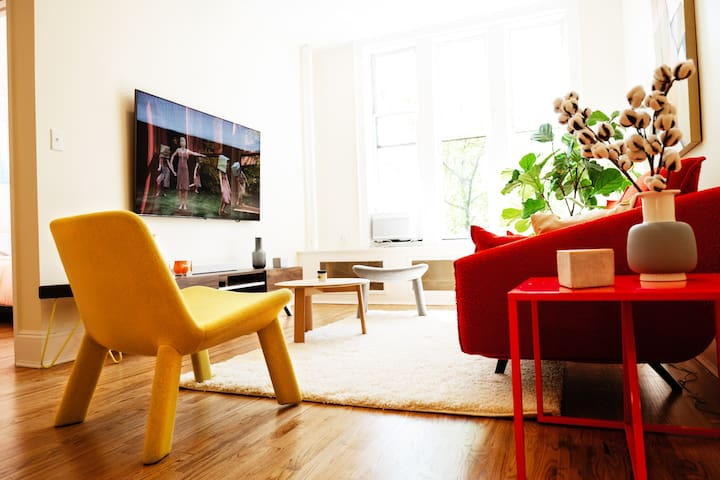 """latest samsung 55"""" QLED tv and furniture from STUA, bludot, and HAY."""