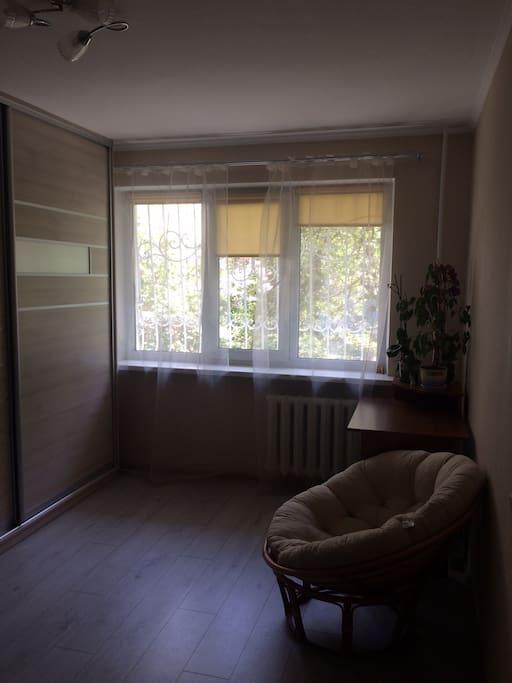 Mesa para trabajar, lámpara (está en el armario), tendrán su espacio en el armario y plantas. La silla es muy cómoda para relajarse , tomar un té o una cerveza cuando un partido de fútbol desde laptop (tengo wifi)