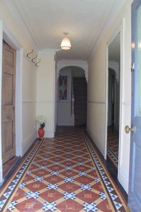 Entrance Hall with original Victorian tiles