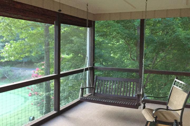 The screened in porch is a great place to take in nature