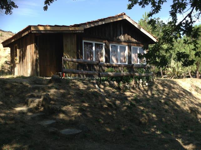 Houten huisje op David & Eli's boerderij