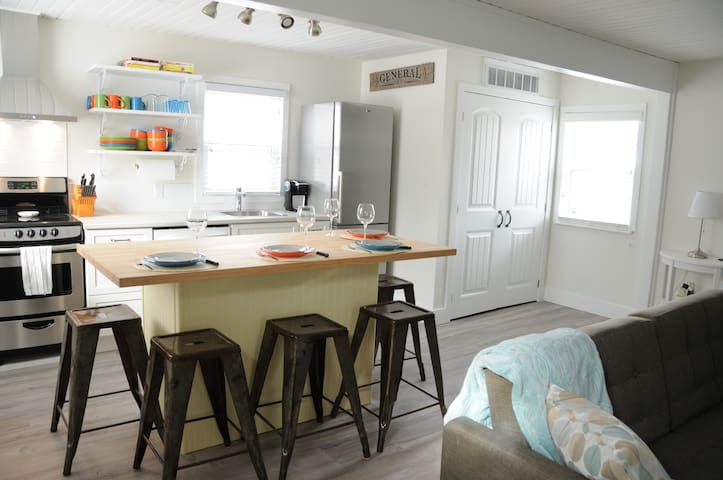 Fully-equipped kitchen with butcher's block island