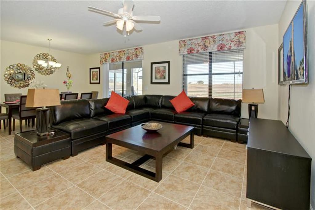 The spacious family room