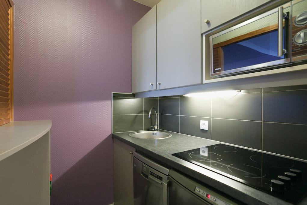 Cuisine toute équipée (frigo,four,plaques,lave vaisselle) / Fully equiped kitchen (fridge, oven, washing dishes)