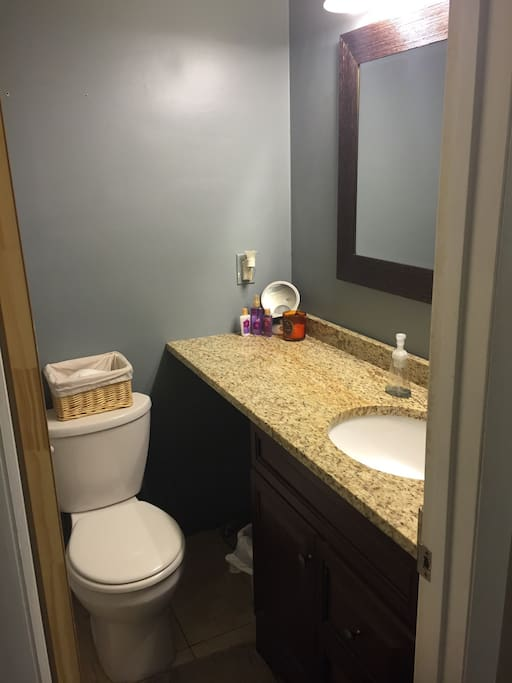 Private bathroom adjacent to your bedroom. Large countertop, tub/shower combo.