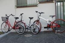 自転車3台はテラス側に置いてありますご自由に使ってください