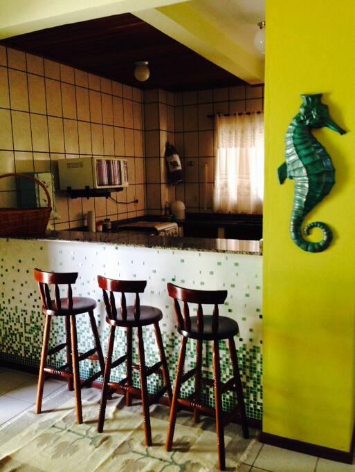 Balcão integrando Sala e Cozinha, ótimo para  desfrutar de uma bebida gelada enquanto supervisiona os trabalhos do mestre cuca.