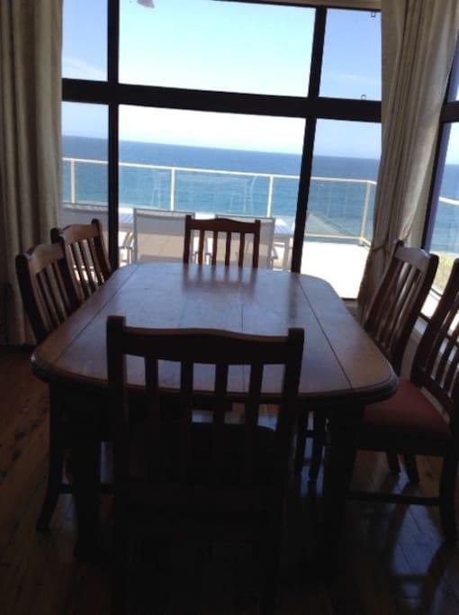 Dining area also has ocean views