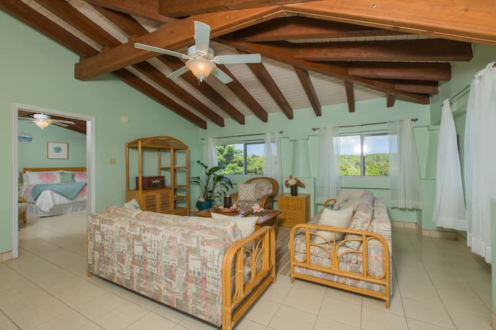HBH Dahlia Suite > Spacious living room > Open & airy with Island view > Comfortable & tropical casual