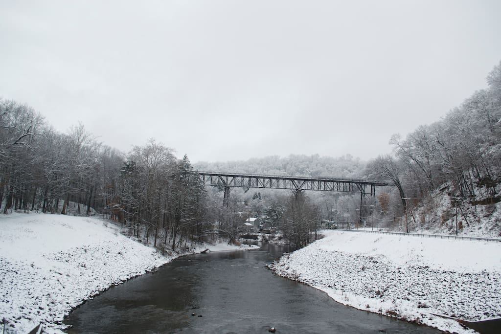 Winter view of the Rosendale Trestle.