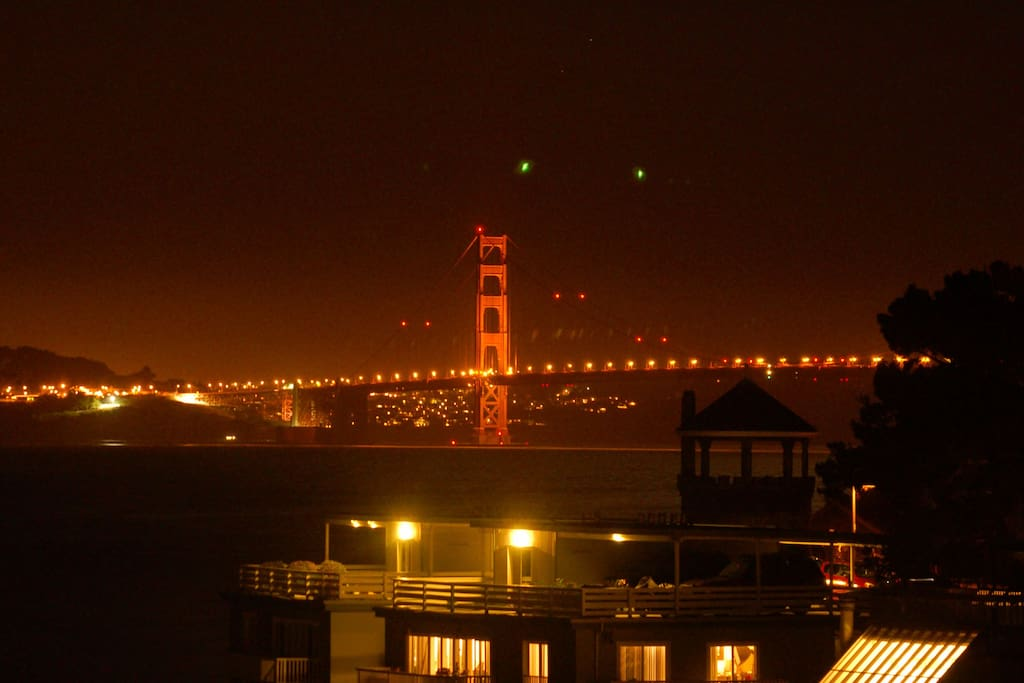 Golden Gate Bridge view from the property at night