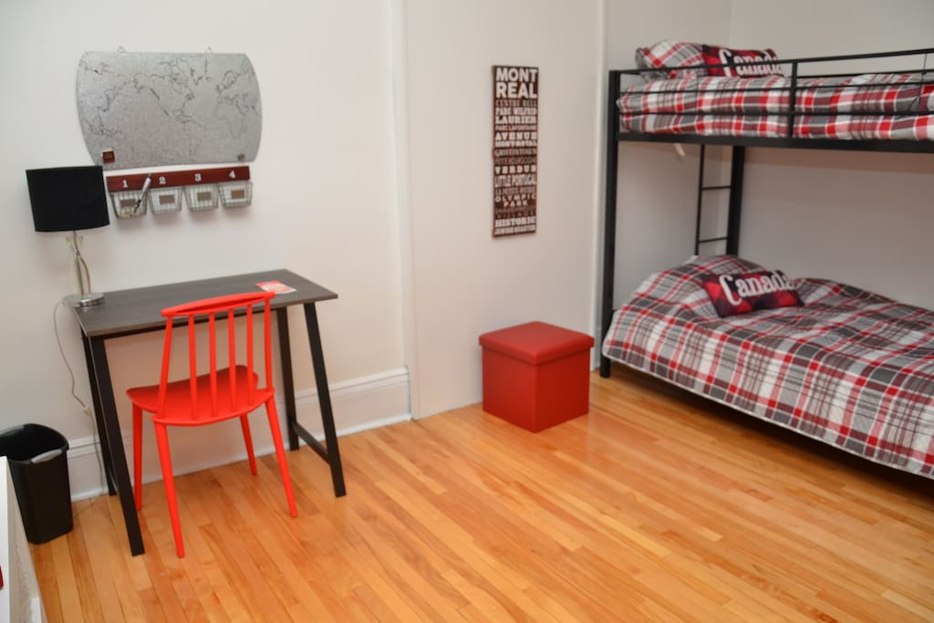 Each bedroom is decorated in Canadian decor and includes the following: bunk bed, 2 desks, 2 chairs, closet space and ample room to 'hangout'. Free Wifi throughout the property.