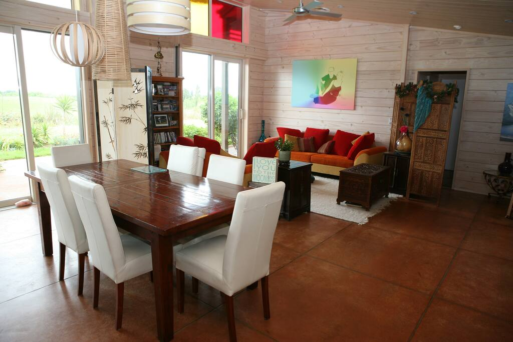 The shared dining area and lounge