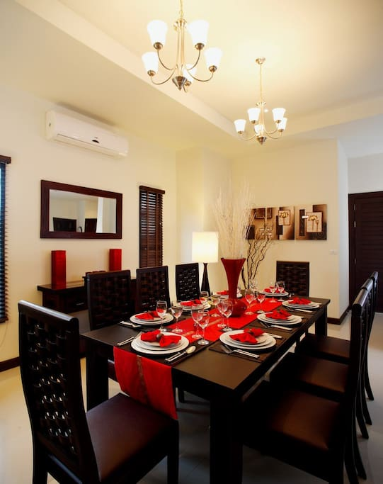 Inside dining table, comfortably seating 8 guests