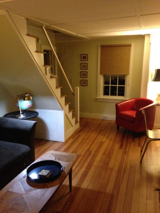 The Livingroom looking toward the stairs and den.