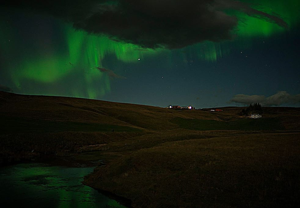 Northern lights in Hrifunes Guesthouse