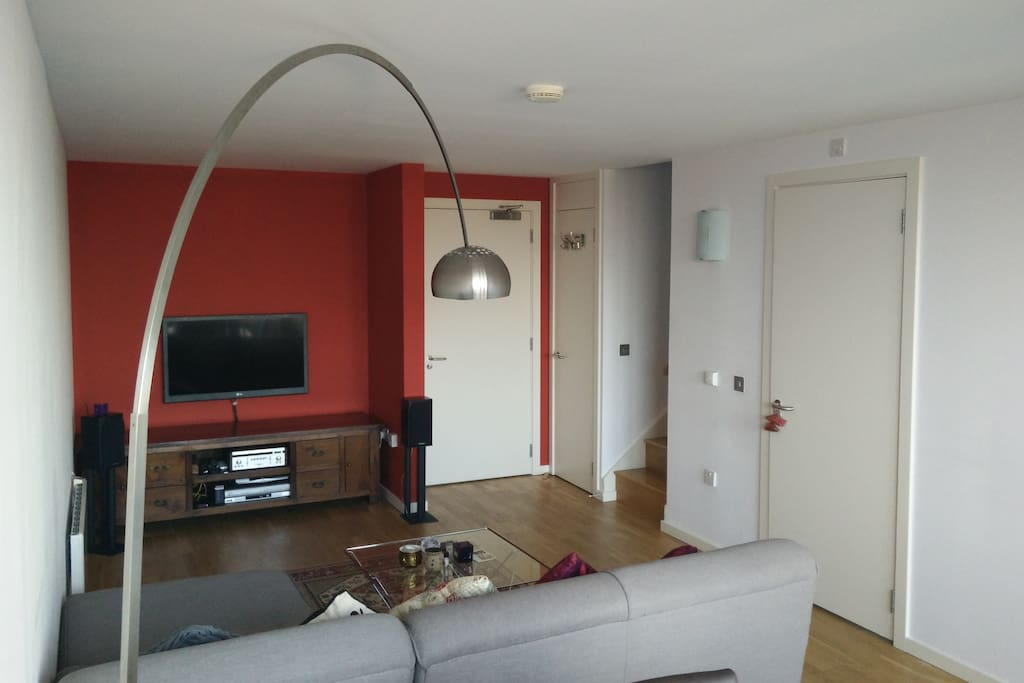 Flat screen TV, comfortable couch and modern amenities