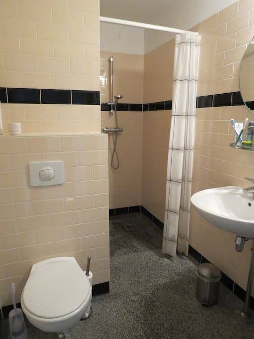 Clean bathroom with toilet and shower