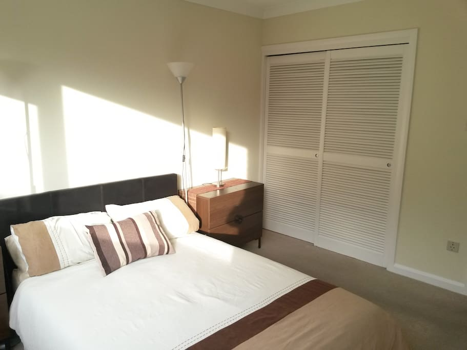 Bedroom, showing the large fitted wardrobe