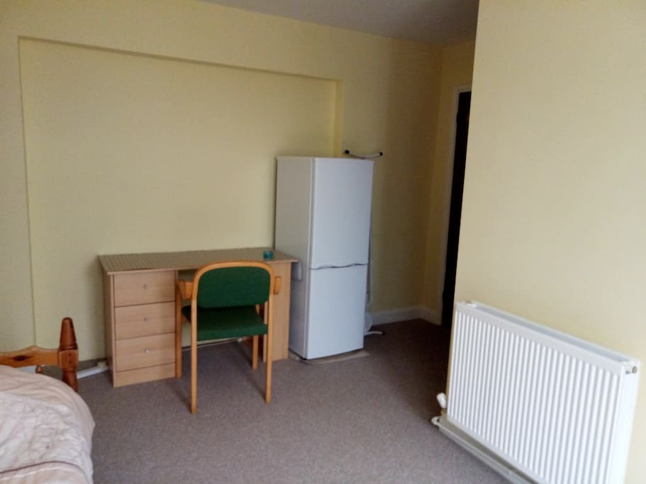 Fridge and kettle in room