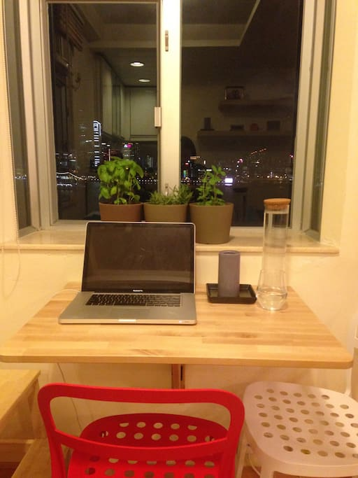 Dining table next to the window