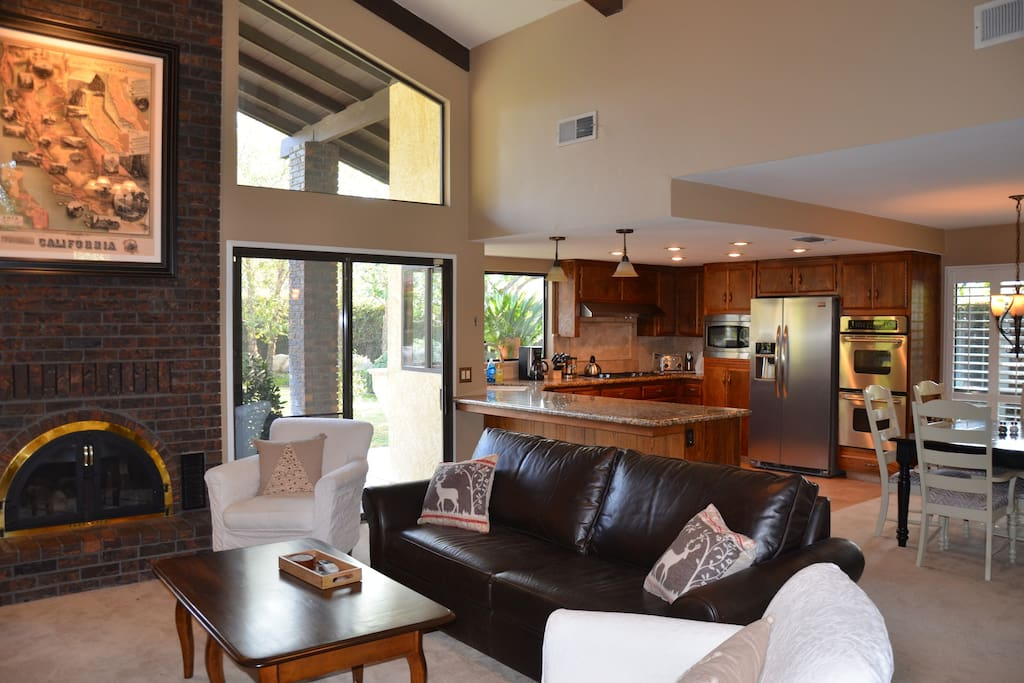 Family room is open to the kitchen and dining area.
