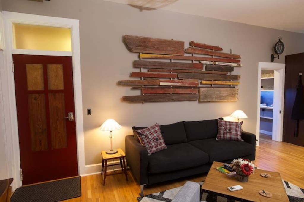 Local artist created this wall art from scrap lumber
