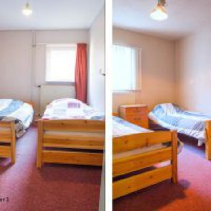 Slaapruimte, 2x 1 bed (kan tegen elkaar aangezet worden)