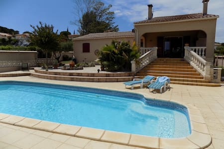 Three double-room villa with pool and big garden - Tourbes