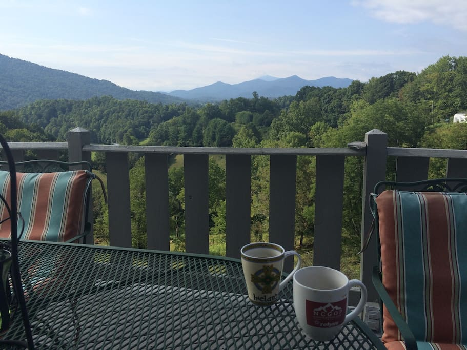 Morning coffee on upper deck.