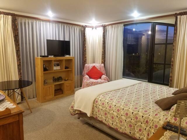 Dormitorio en suite, soleado, muy iluminado y con bella vista.