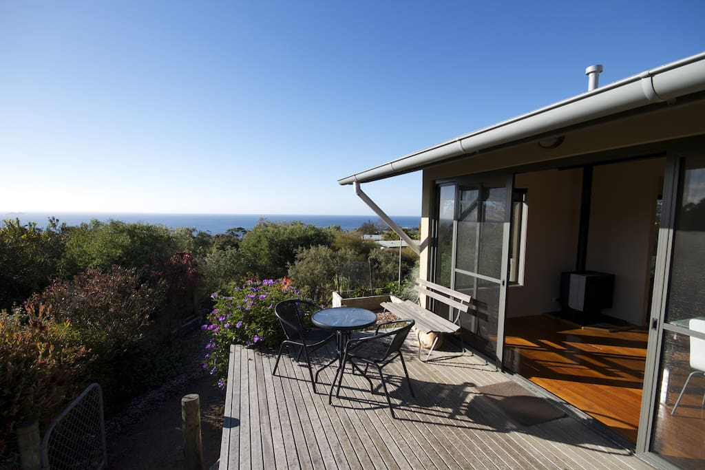 Private self contained bungalow with expansive bay views from the deck.