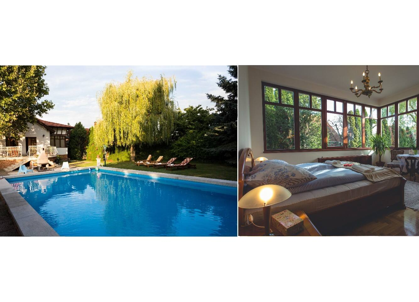 swimming pool & bedroom