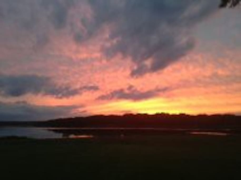 Sunset on the Mohawk River from our deck