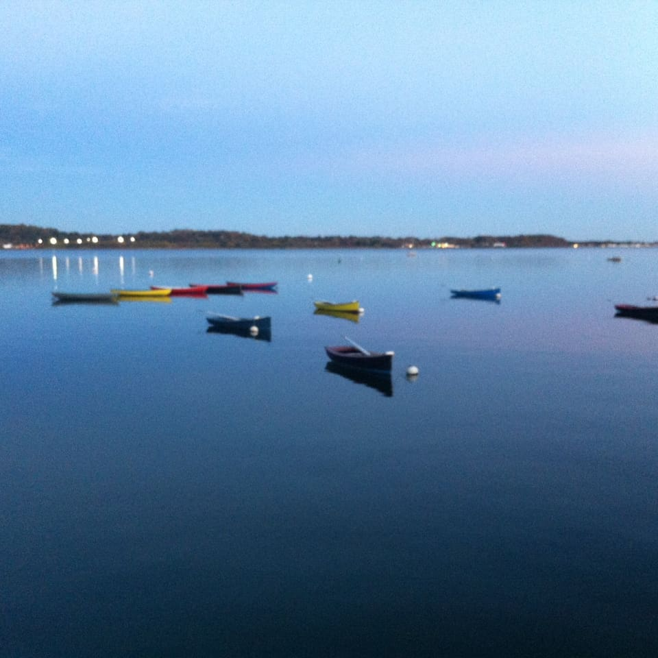 These are the little boats for the Sound School, a short walk away.