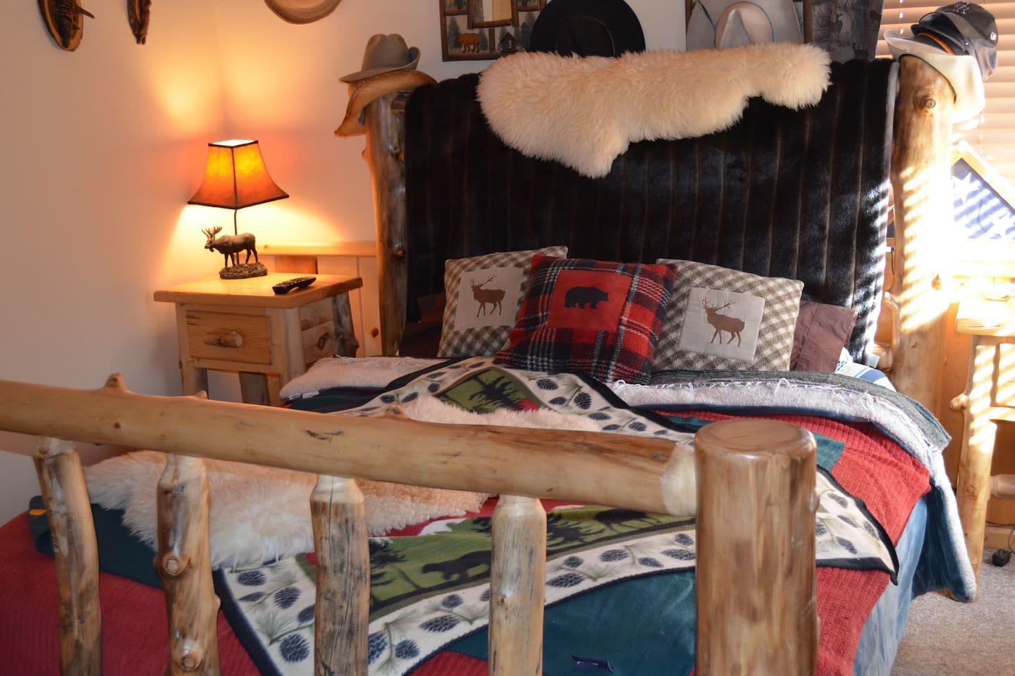 Cozy king size bed. This comfy get away  will lull you into sleep and you'll arise the calming sunrise in the woods.
