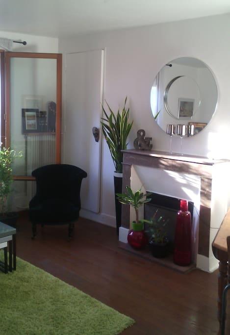 Living room - Salon avec cheminée