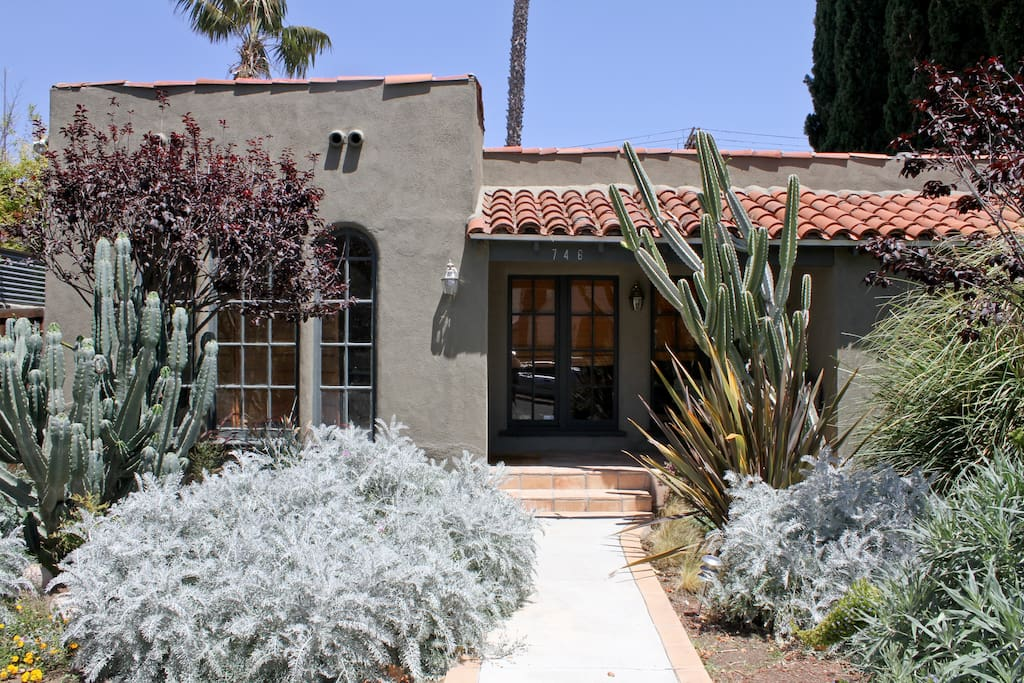 The front of my 1929 Spanish style house in a perfect walking neighborhood just off melrose