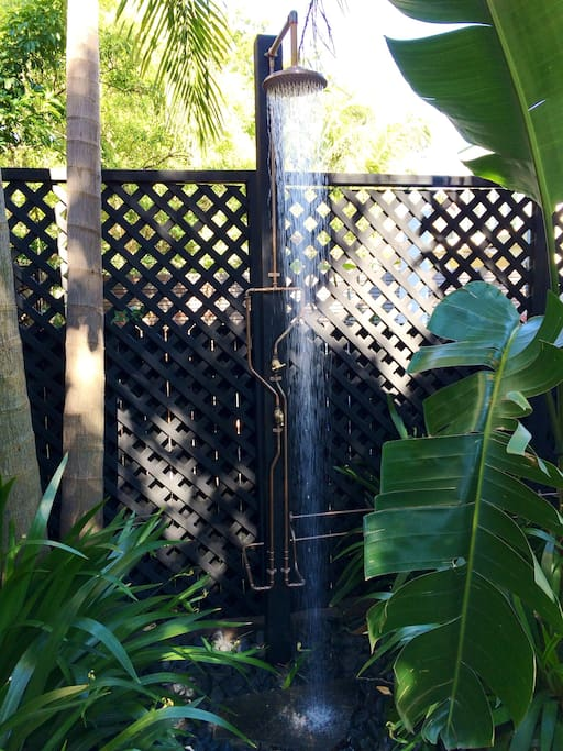 Hot outdoor shower - the perfect way to end a day at the beach