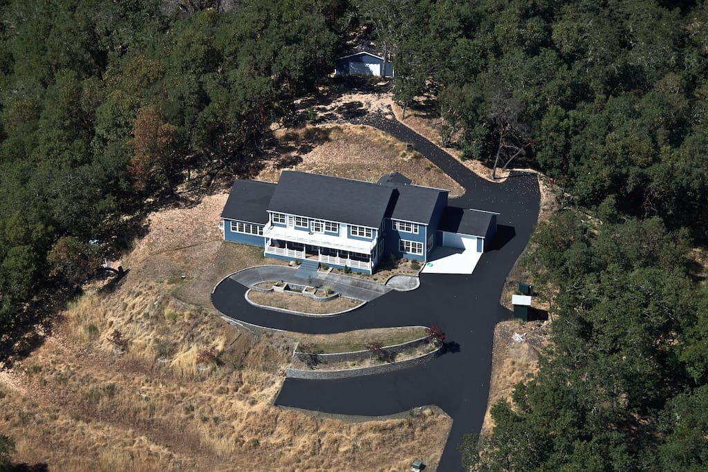 Aerial view of the property before waterfall, raised garden and poultry ares