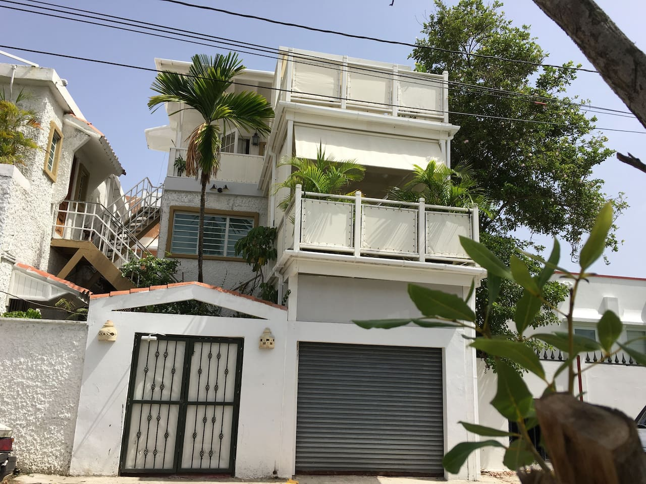 Studio is on third floor.  There is an outside staircase to guide you up. There is a balcony overlooking the trees in our neighborhood.