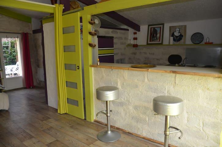 studio vue montagne et piscine - Montaut - Huis