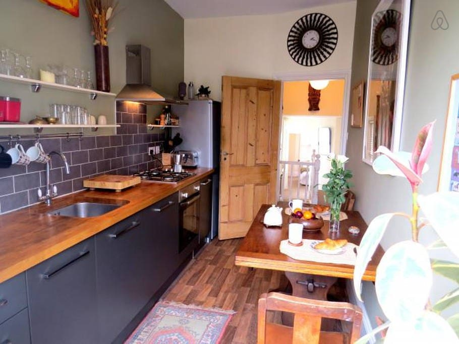 Very chilled kitchen with stereo sound and balcony access.