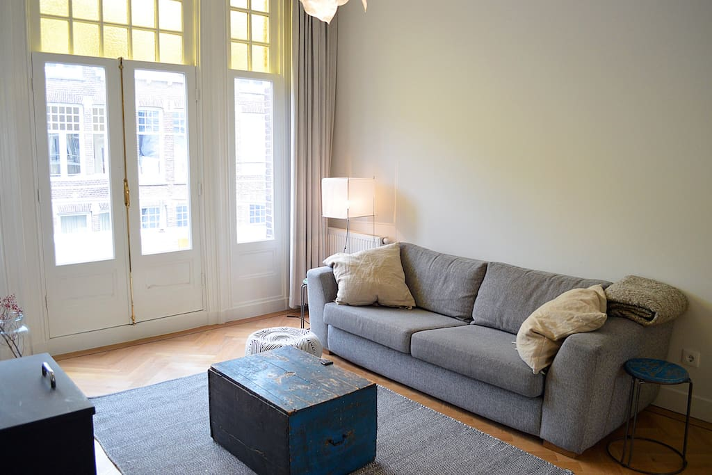 Our bright living room & comfortable couch