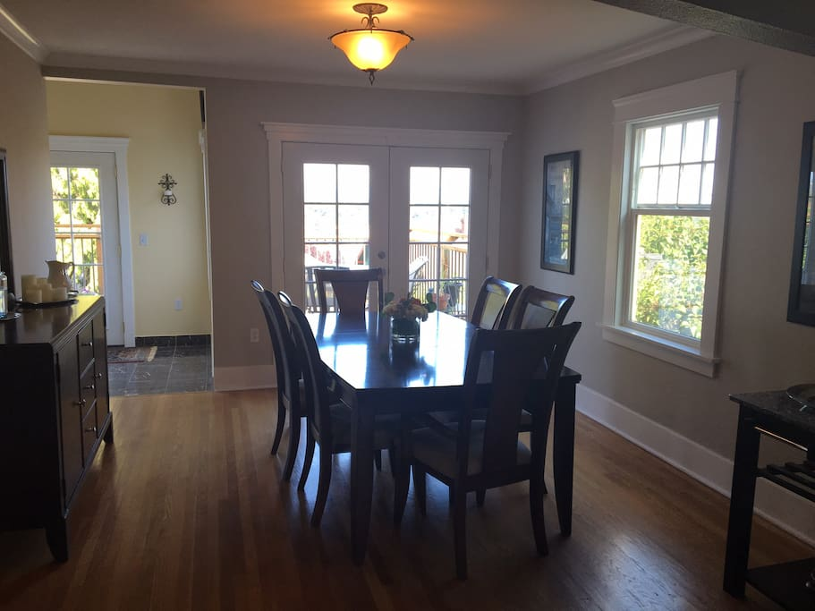 Dining Room with french doors onto the back deck