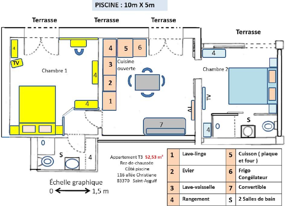 Plan du T3 loué avec la piscine