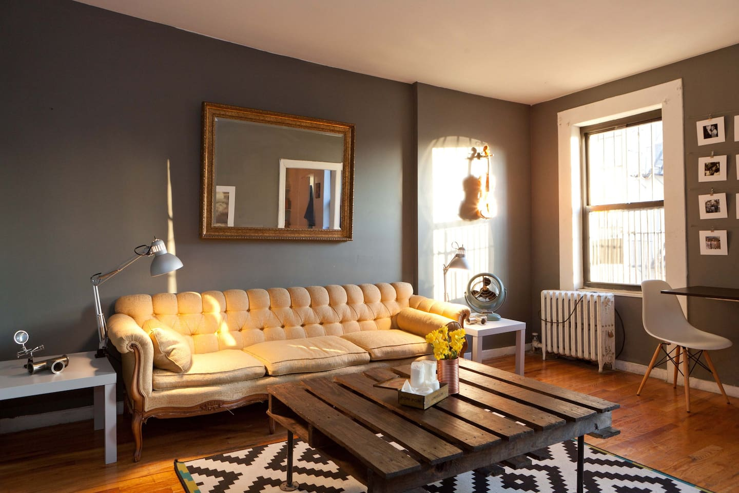 We love the brooklyn vintage look and this is our newly redone living room.