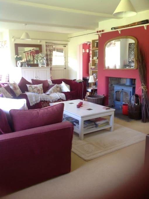 Living room with log burner!