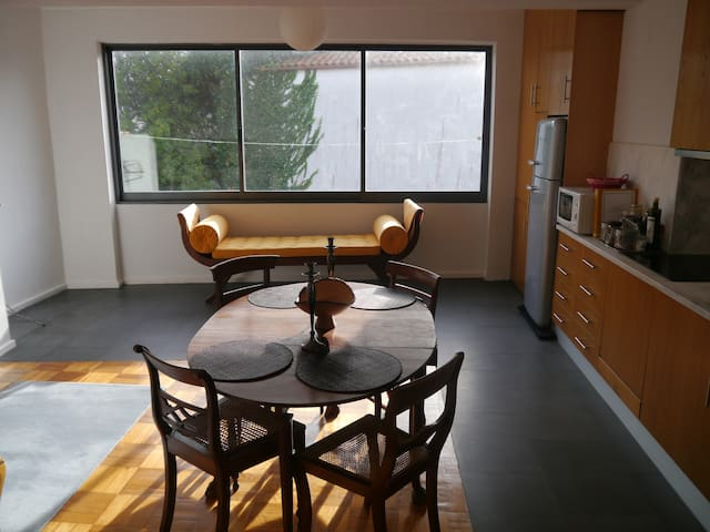 sunny and quiet living room (plus open kitchen)