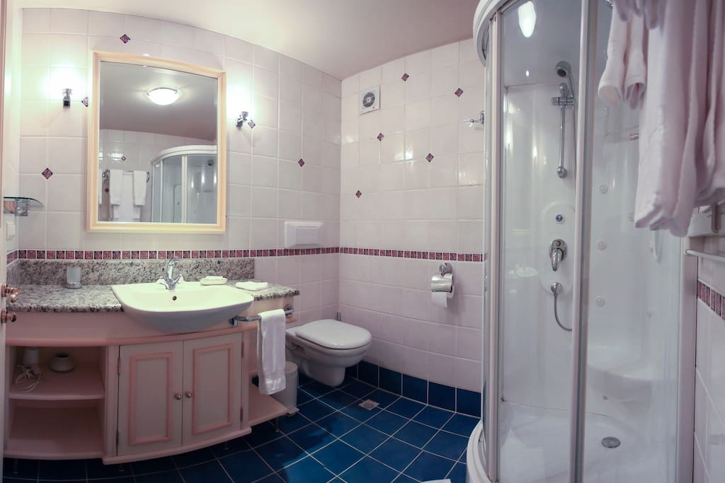 We provide a laundry service and house keeping with sheet/towel change. The shower includes a multiple spray shower heads